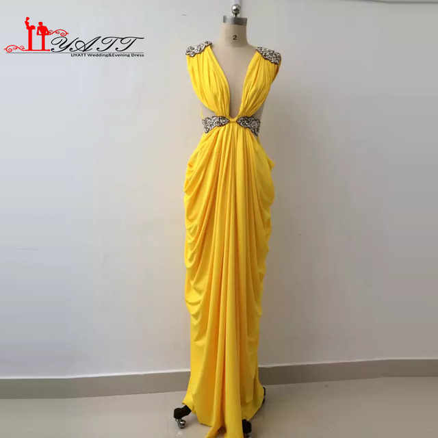 3f6f866ca1db New Collection 2016 Evening Prom Dresses Sexy V-neck Yellow Gold African  Spandex Luxury Beads Sexy High Quality LIYATT