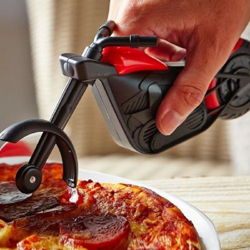 Pizza Cutter Motorcycle Model Blade Chopper Slicer Stainless Steel Kitchen Tool