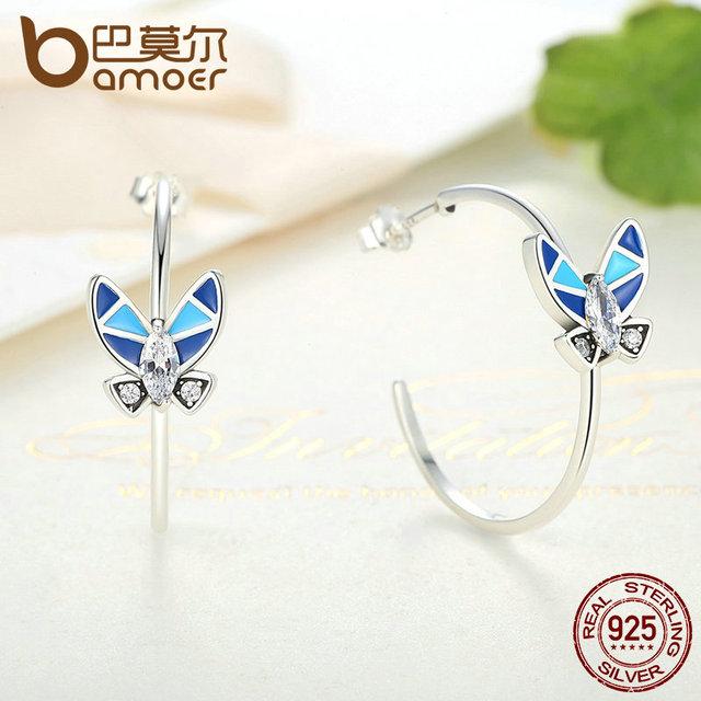 Sterling Silver Blue Butterfly Drop Earrings
