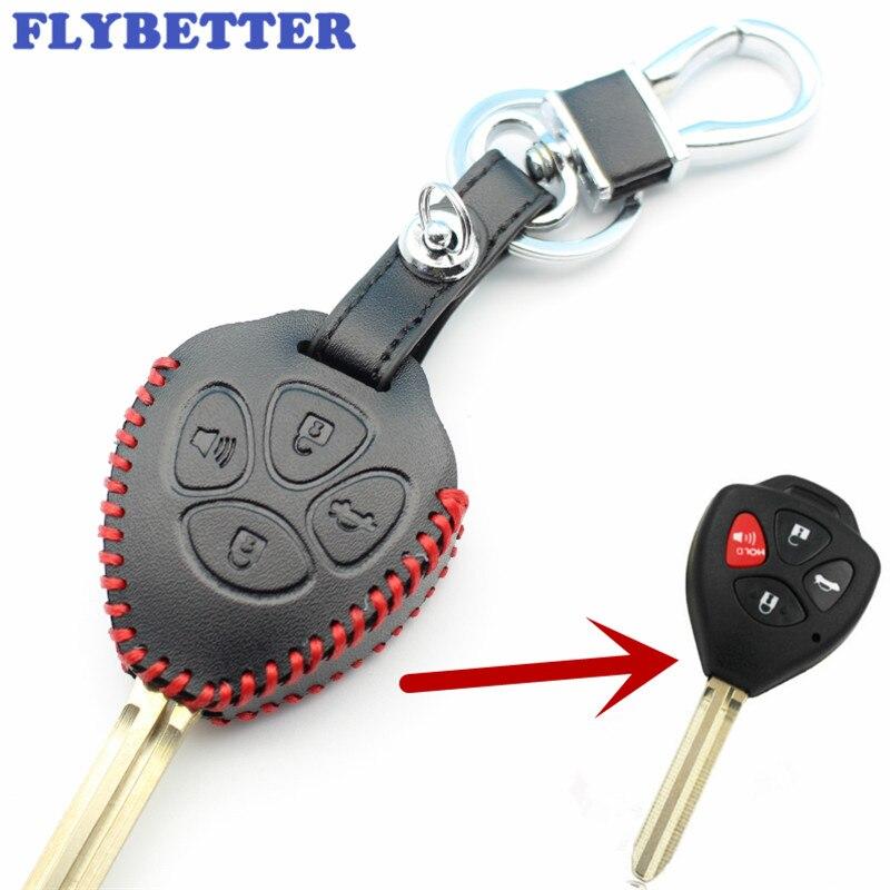 Flybetter Пояса из натуральной кожи 4 кнопки случае ключ покрытия для Toyota Camry/Avalon/Corolla/матрица/RAV4/Venza /Yaris стайлинга автомобилей l2096