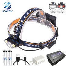 цена на Super bright LED headlamp White light + Red light fishing headlight 7 lighting modes flashlight Use 2 x 18650 batteries
