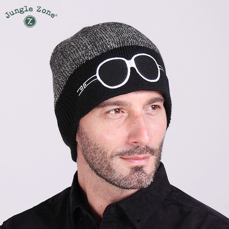 купить jungle zone New ski cap cartoon two-color glasses knit hat men and women wool cap autumn and winter warm hat ski hat дешево