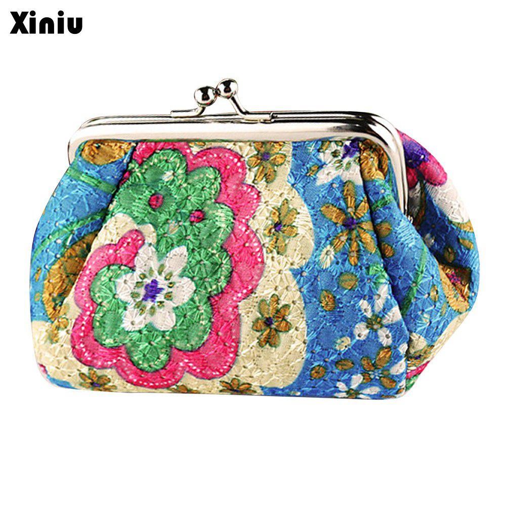 Vintage Women Small Wallet Retro Lady Flower Printing Hasp Coin Purse Polyester Clutch Bag Card Holder porte monnaie femme