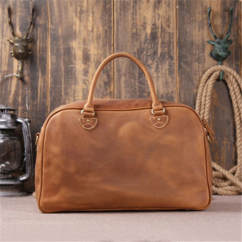 crazy horse leather men travel bags luggage bag for travel genuine leather men duffle bag of - Mens Leather Duffle Bag