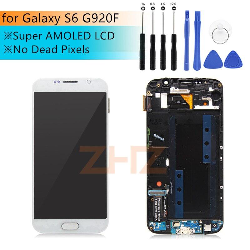 Pour Samsung galaxy S6 G920F écran LCD numériseur à écran tactile Avec Cadre Assemblée Pour G920 G920f Super AMOLED LCD Pièces De Rechange