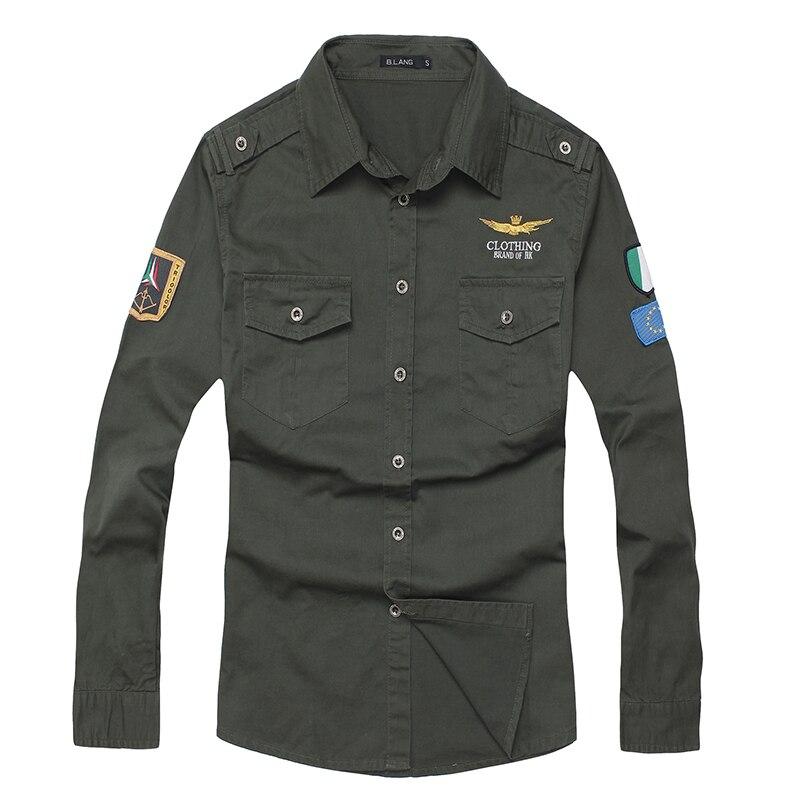 Gömlek hava kuvvetleri bir erkekler gömlek uzun kollu erkek slim - Erkek Giyim - Fotoğraf 4