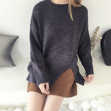 Solid Color o-neck long sleeve pullover Sweater Woman Autumn and Winter Korean Knitting Unlined Pullover loose sweater coat 8169