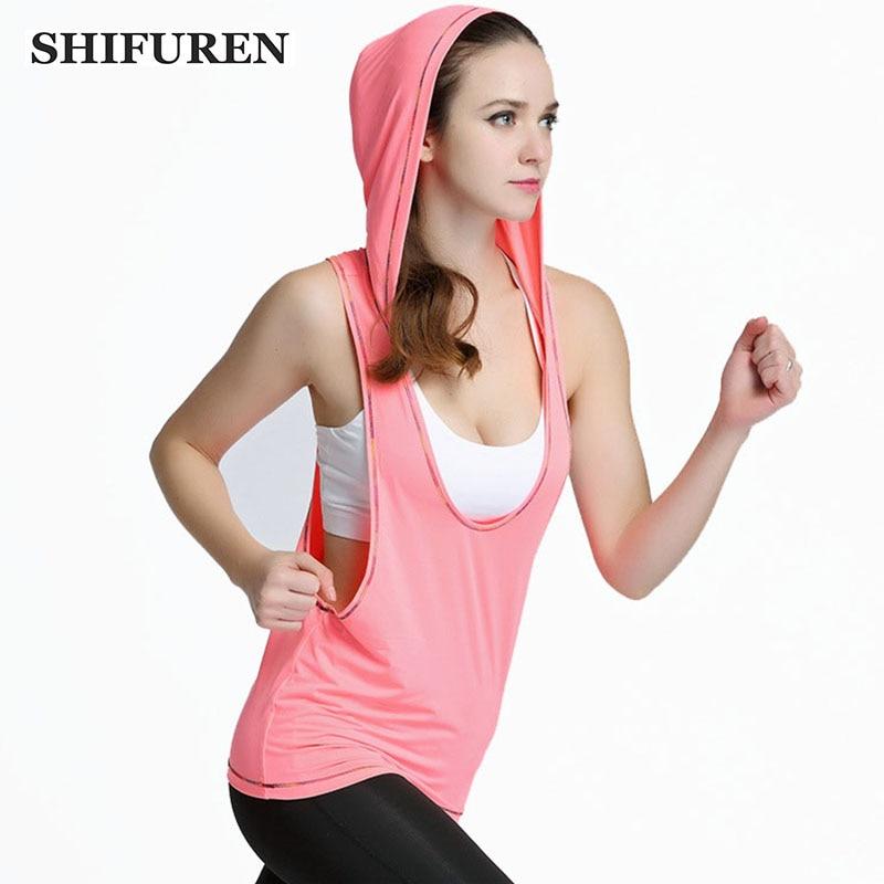 Womens Sports Bras Running Yoga Pants Dance Gym Tank Tops: SHIFUREN Women Hooded Running Shirts Sleeveless Breathable