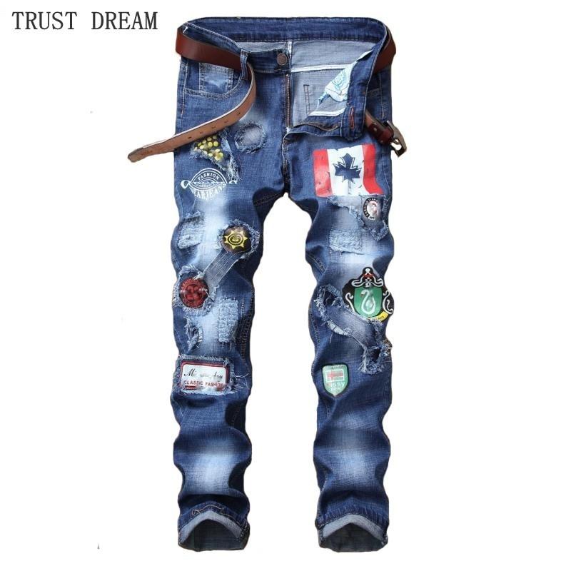 Active Streetwear Man Printed Jean Slim Ripped Decor Flag Destroyed Patchwork Paint denim Pant Men's Fashion Hip Hop Punk Jeans