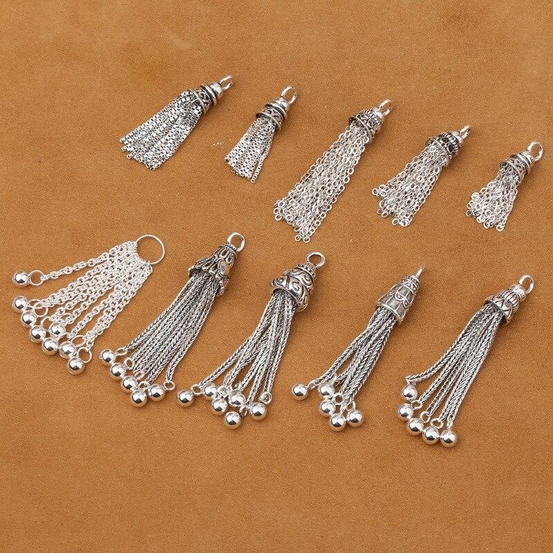 100% 925 Silver Tassel DIY Bracelet Tassel Pure Silver Jewelry Tassel