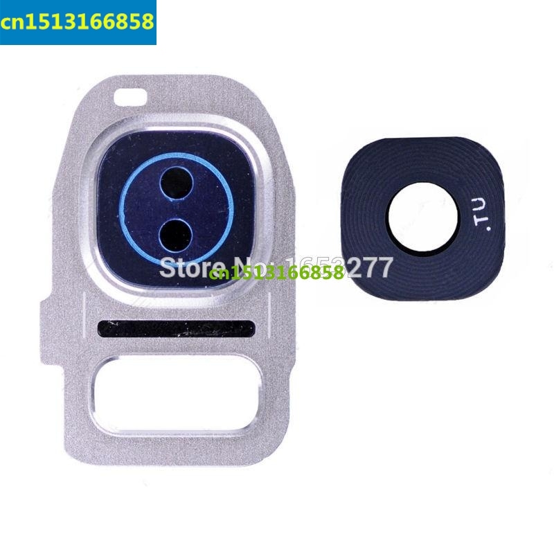 50 pieces/lot Back Rear Camera Lens Ring Cover Part With Bezel and Adhesive for Samsung Galaxy S7 G930/S7 edge G935 W/B/G
