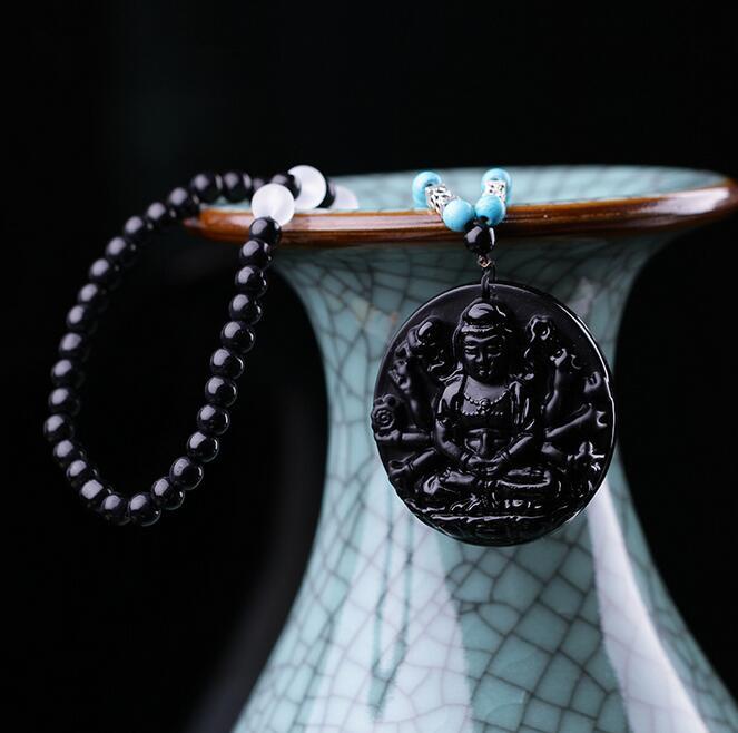 Free shipping drop shipping Obsidian long sweater chain of guanyin original design