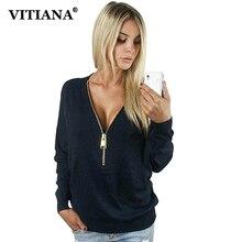 Women Casual Pullovers Tops Female Spring Autumn Black Green Long Sleeve V-Neck Zipper Loose Hoodie Sweatshirts