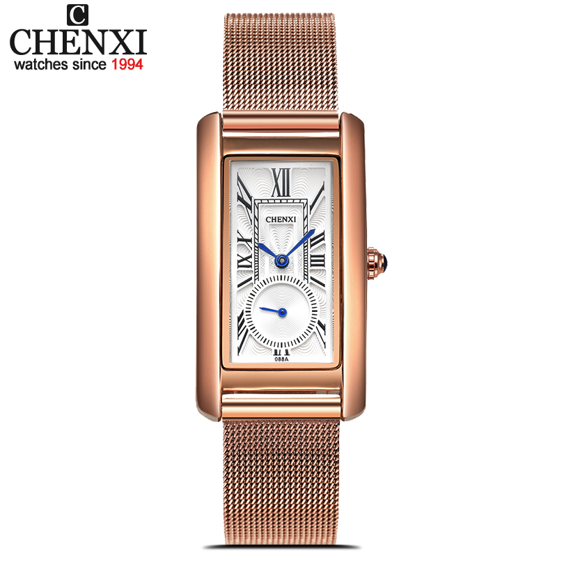 CHENXI Rose Gold Mesh Stainless Steel Women Waterproof Watch Quartz Watches Lady Fashion Women Rectangular Dial Relogio Feminino chenxi fashion luxury quartz watch women dress stainless steel strap waterproof business casual ladies watches relogio feminino