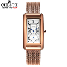 CHENXI Rose Gold Mesh Stainless Steel Women Waterproof Watch Quartz Watches Lady Fashion Women Rectangular Dial Relogio Feminino