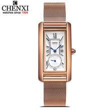 רשת CHENXI רוז זהב נירוסטה קוורץ שעונים ליידי אופנה שעון עמיד למים לנשים נשים חיוג מלבני Relogio Feminino