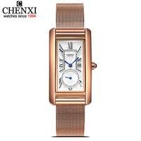CHENXI Rose Gold Mesh Stainless Steel Women Waterproof Watch Quartz Watches Lady Fashion Women Rectangular Dial