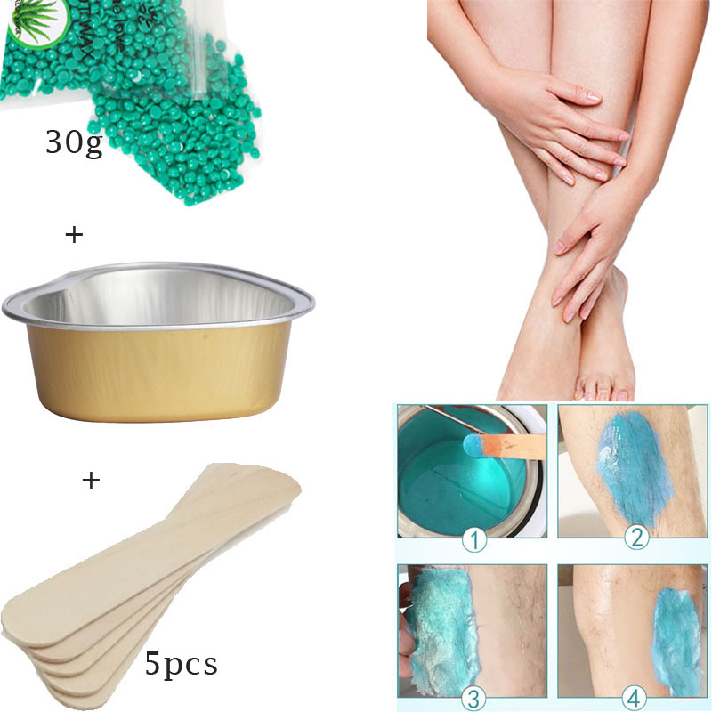 30g Purple Lavender Removal Cream Color No Strip Depilatory Hot Film Hard Brazilian Wax Pellet Waxing Bikini Hair Removal Bean