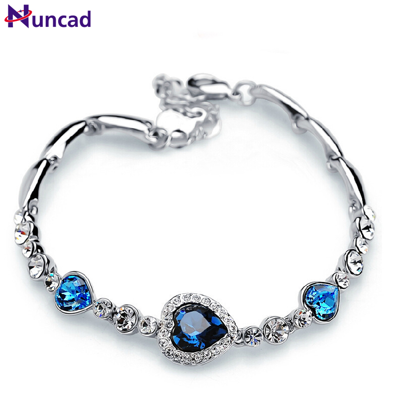 Nuncad One Piece Women Girls Ocean Blue Sliver Plated Crystal Hjärta Armband Bracciali Donna Present Smycken Bileklik Wholesale