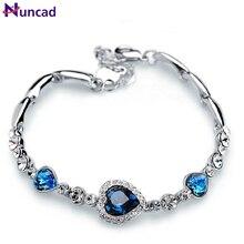 Nuncad One Piece Women Girls Ocean Blue Sliver Plated Crystal Heart Bracelet Bracciali Donna Gift Jewelry Bileklik Wholesale