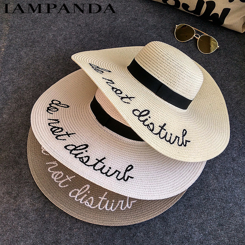5c37a3d787e524 ... embroidery cap Big brim Ladies summer straw hat youth hats for women  Shade sun hats Beach hat sale. 41% Off. 🔍 Previous
