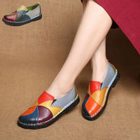 Handmade Leather Soft Shoes National Leather Flats Shoes For Women Casual Female Flats Lady FlowerRound Toe