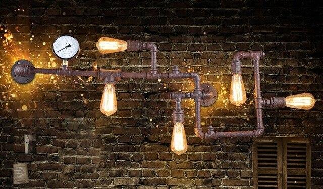 Retro tubo di ferro loft industriale lampada da parete con luci