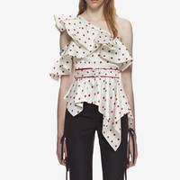 8af9d05ef Self Portrait Woman Blouse Sexy One Shoulder Polka Dot Tops 2018. Auto  Retrato mujer blusa ...