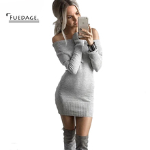 Fuedage Новая мода Одежда для вечеринок пикантные без бретелек Vestidos вязаный облегающее платье Для женщин зимнее платье с длинными рукавами Праздничное платье