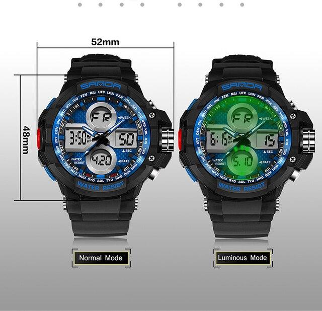 SANDA Mens Watch Top Luxury Men Quartz Watch Analog Clock Colorful Luminous Led Watches For Male Sports Alarm Week function
