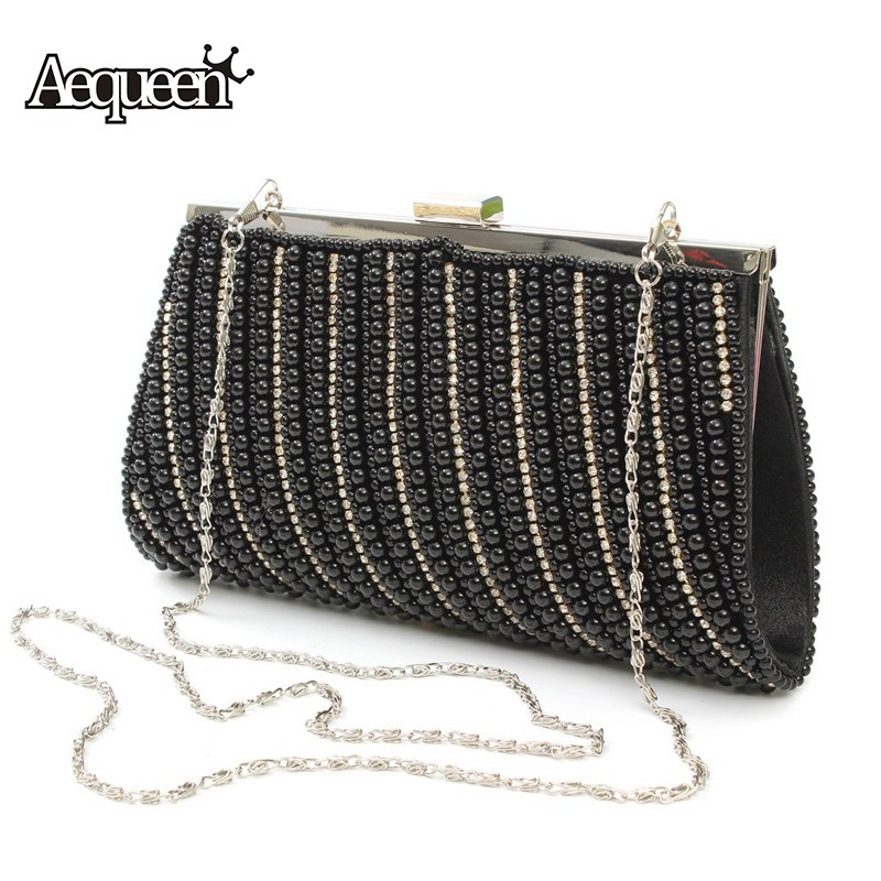 AEQUEEN Diamond Studded Evening Clutch Bag Women's Charming Bead Handbag Rhinestone Banquet Bags Day Clutches Female Party Bag white random pattern lace strapless lace up back design lingeries sets