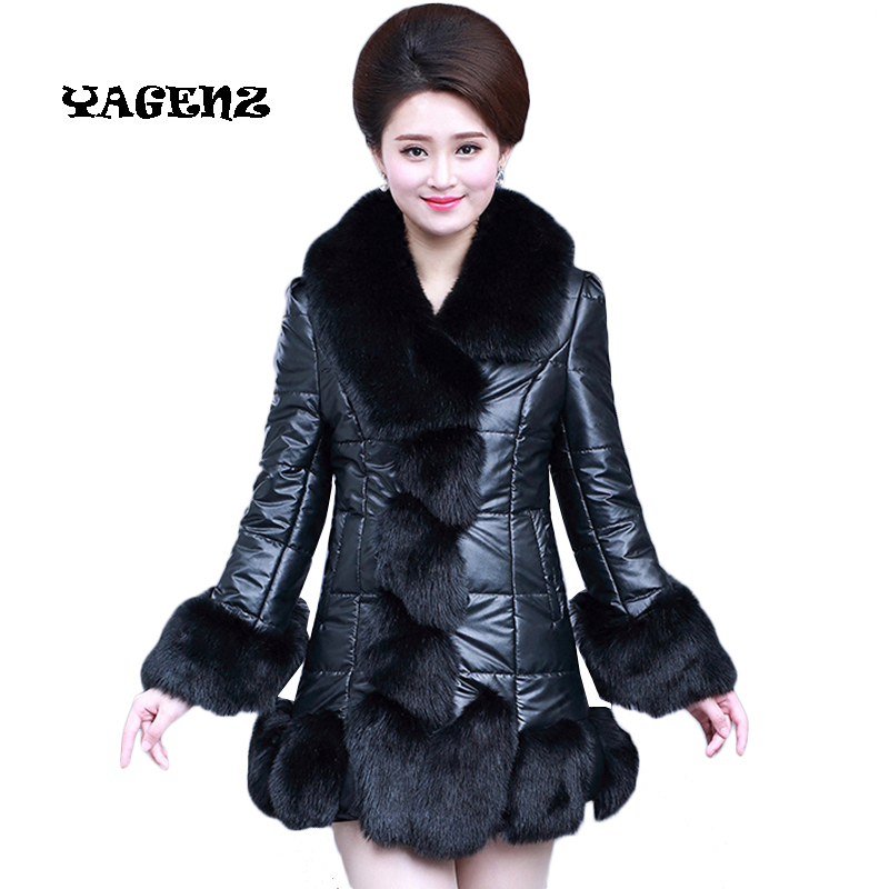 Winter Overcoat Plus Size 4XL Winter Fox Fur Coat Warm Faux Fur Coats High Quality Pu   Leather   Stitching Fur Collar Outerwear
