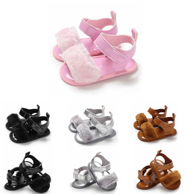 Newborn Toddler Baby Girls Summer Sandal Shoes 4 Style Fur Solid Flat With Heel Outfit 0-18M Baby Shoes