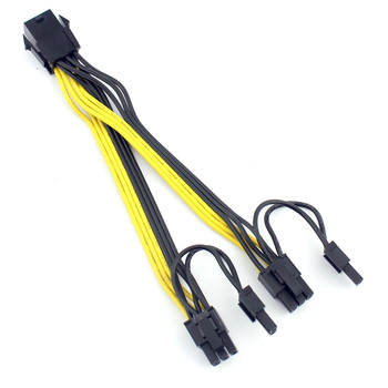 15cm UL 18AWG PCI-E 6pin Female to Dual 8pin(6+2) 6+2Pin Y-Splitter Video Card Power Supply Adapter Cable.PCIe GPU Line image