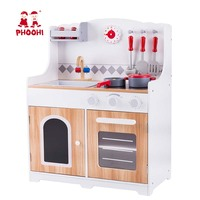 Toddler Woode Kitchen Set Toy Kids Pretend Role Play Cooking Stove Toy With Accessories PHOOHI