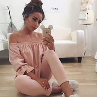 2017 Fashion Women Lady Sexy Off Shoulder loose Casual Long Sleeve Slim Top Blouse