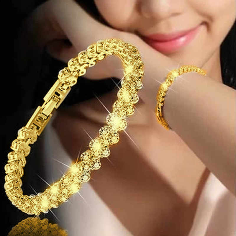 3 Warna Wanita Gelang Fashion Gaya Romawi Crystal Gelang 925 Sterling Silver Gelang untuk Hadiah Aksesoris