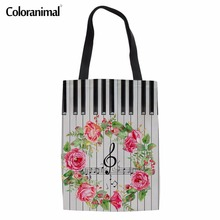 Coloranimal Women Reusable Casual Canvas Bags 2018 Fashion Design Music Notes with Piano Keyboard Print Hand Linen Shopping Bags