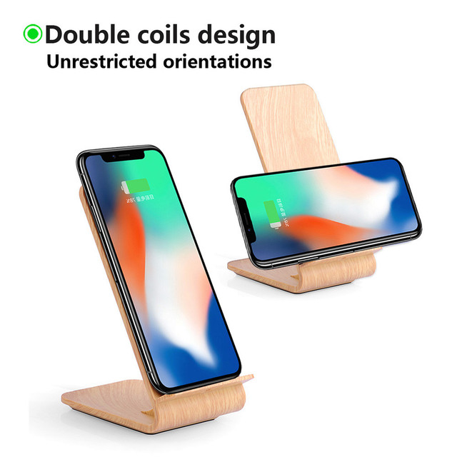 US $15 37 38% OFF|Qi Wireless Charger Wooden Design 2 coil Charging Station  Wireless Charger Charging Stand For Iphone 8/8 Plus/X Drop Shipping-in