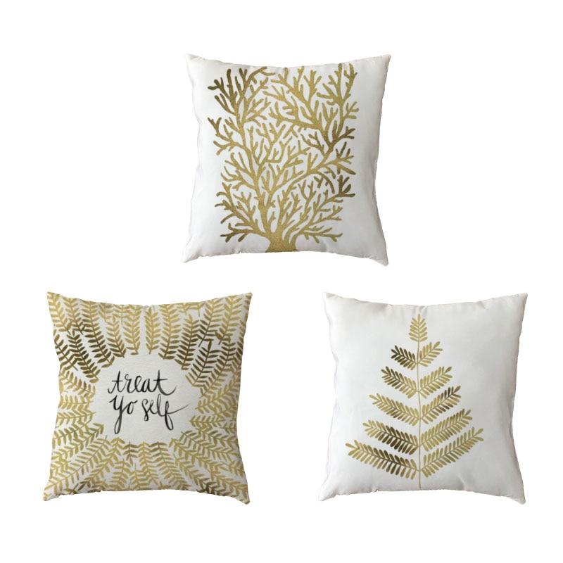 Hot Sale Golden Plant White Pillow Cases Fashion Geometric Mosaic Seaweed Printed Home Decor Peach Skin Modern Art Cushion Cover