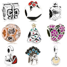 Btuamb Maxi Love Heart Christmas Tree Flower Enamel Charm Beads Fit Pandora Bracelets DIY Making Jewelry Christmas Gift Berloque(China)