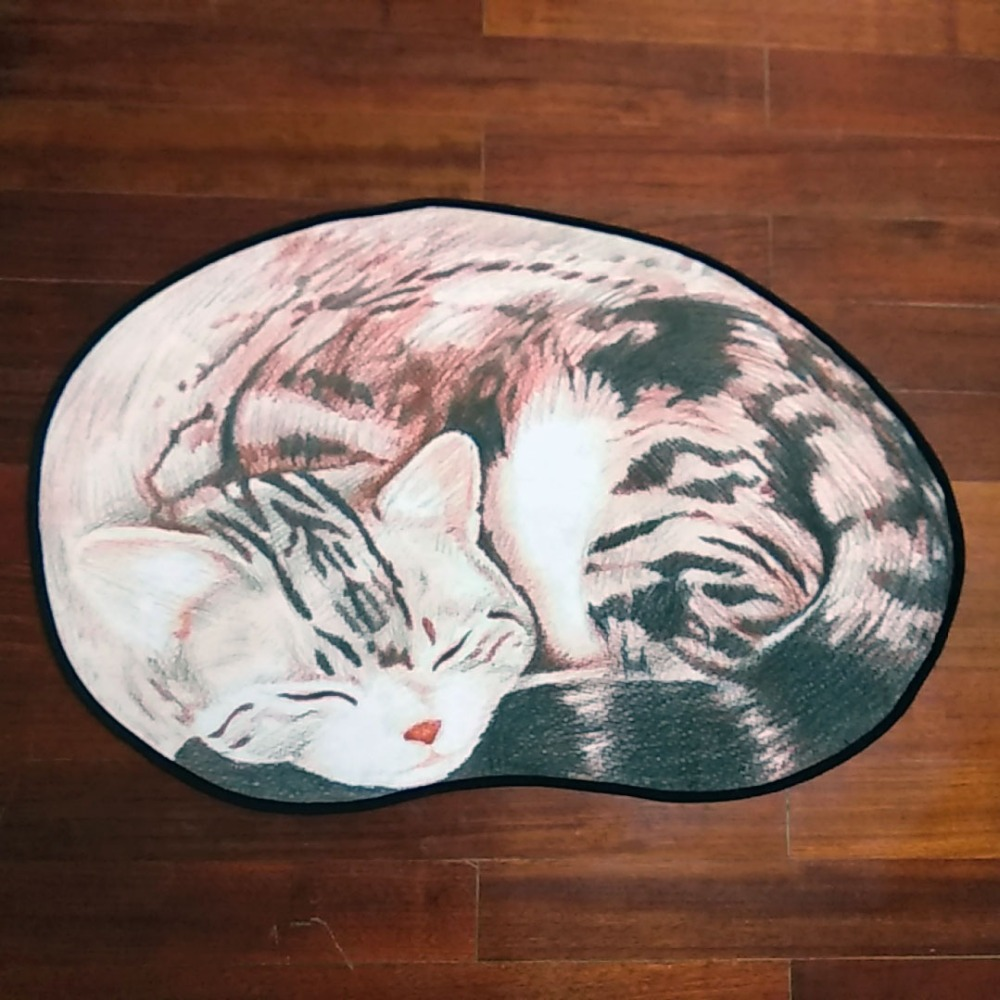 Cute 3d printed pet rug cat oval area rug for living room - Small area rugs for living room ...