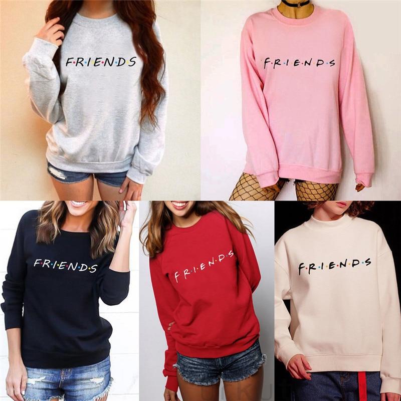 Brand New 2019 Womens 5 Colors Letters FRIENDS Print Long Sleeve Hoodie Sweatshirt Ladies Slouch Pullover Jumper Tops S M L XL