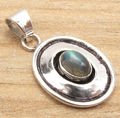 Modern Retro Fashion Pendant,  Silver Plated Blue Shine LABRADORITE Gems Gift