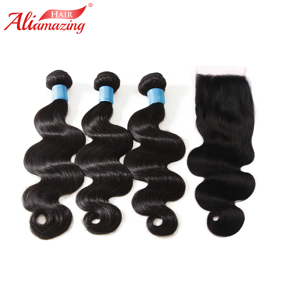 Ali Amazing Hair Brazilian Body Wave Human Hair Bundles with Closure 3 Bundles with 5x5 Lace Closure Natural Color Free Shipping