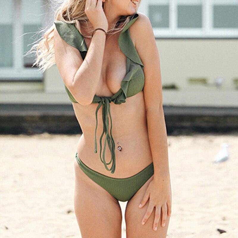 HTB1o6XLeL1G3KVjSZFkq6yK4XXai Push up Bikini Set Women Halter Ruffle Biquini Swimwear Low Waist Sexy Swimsuit Women Beach Bathing Beachwear Bandage Bikini Set