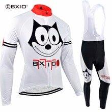 BXIO Winter Thermal Fleece Cycling Set Warm Long Sleeve Roupas Para Ciclismo Mujer Bike Clothing Autumn