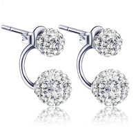 925 Sterling Silver Double Ball Stud Earrings Drill Curved Female Korean Fashion Jewelry Wholesale Certificate D17