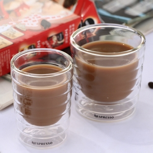 6pcs/lot Caneca Hand Blown Double Wall Whey Protein Canecas Nespresso Coffee Mug Espresso Coffee Cup Thermal Glass 85ml(China)