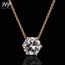 Multi Prongs Synthetic Crystal Hearts and Arrows Rose Gold Color CZ Pendant Necklace with 6mm Cubic Zirconia N431 N432(China)